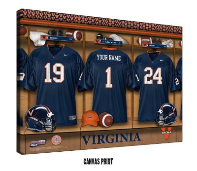 Personalized Virginia Cavaliers Football Locker Room Sign - Canvas Mounted Print