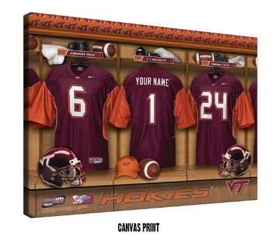 Personalized Virginia Tech Hokies Football Locker Room Sign - Canvas Mounted Print