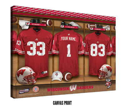 Personalized Wisconsin Badgers Football Locker Room Sign - Canvas Mounted Print