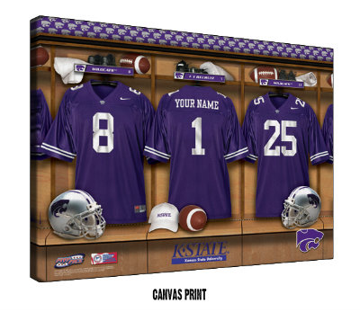 Personalized Kansas State Wildcats Football Locker Room Sign - Canvas Mounted Print