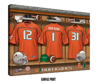 Personalized Miami Hurricanes Football Locker Room Sign - Canvas Mounted Print