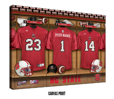 Personalized North Carolina State Wolfpack Football Locker Room Sign - Canvas Mounted Print