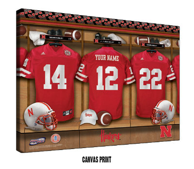 Personalized Nebraska Cornhuskers Football Locker Room Sign - Canvas Mounted Print