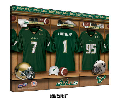 Personalized South Florida Bulls Football Locker Room Sign - Canvas Mounted Print