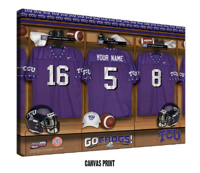 Personalized TCU Horned Frogs Football Locker Room Sign - Canvas Mounted Print