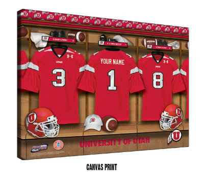 Personalized Utah Utes Football Locker Room Sign - Canvas Mounted Print