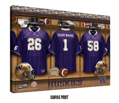 Personalized Washington Huskies Football Locker Room Sign - Canvas Mounted Print