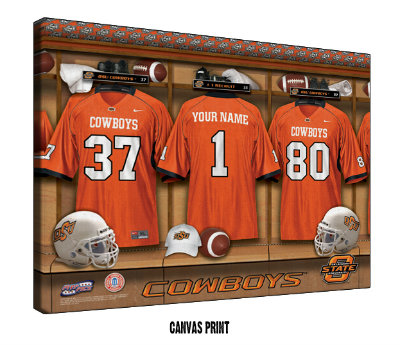 Personalized Oklahoma State Cowboys Football Locker Room Sign - Canvas Mounted Print