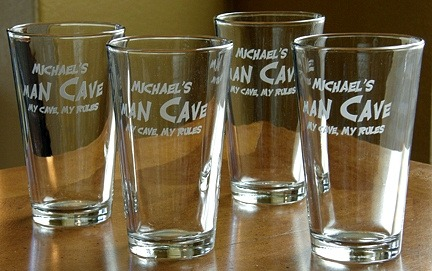 Personalized Man Cave - My Cave, My Rules Pint Glasses