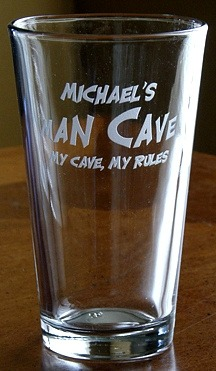 Personalized Man Cave - My Cave, My Rules Pint Glass