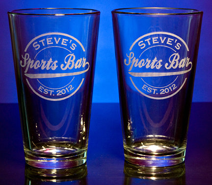 Personalized Sports Bar Pint Glasses