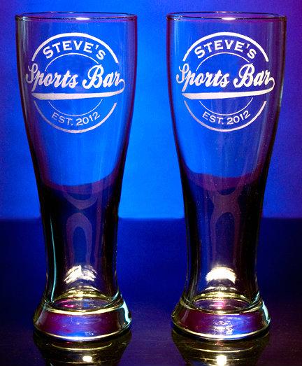personalized sports bar pilsner glasses