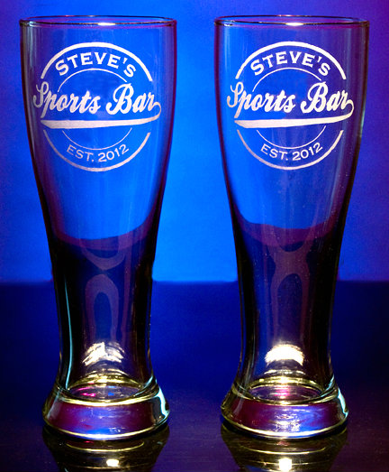 Personalized Sports Bar Pilsner Glasses