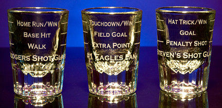 Personalized Sports Game Shot Glasses - Along with Hockey, Football & Baseball are also available.