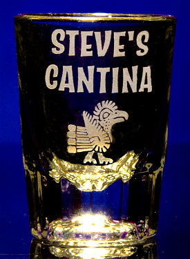 Personalized Cantina Shot Glass with Bird Artwork