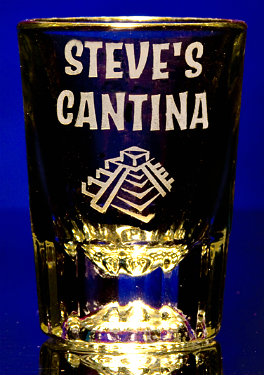 Personalized Cantina Shot Glass with Pyramid Artwork