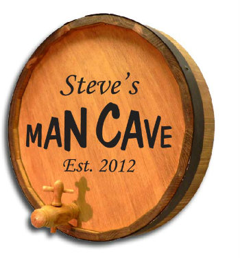 Personalized Man Cave Quarter Barrel Sign with Established Date
