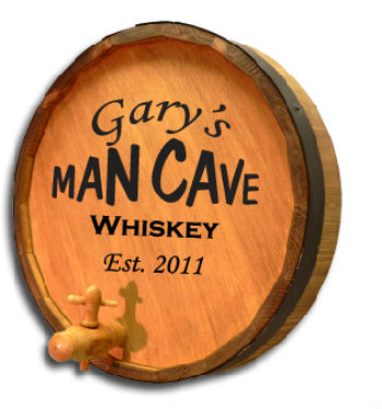 Personalized Man Cave Quarter Barrel Sign with Liquor Choice