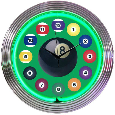Billiards Neon Clock