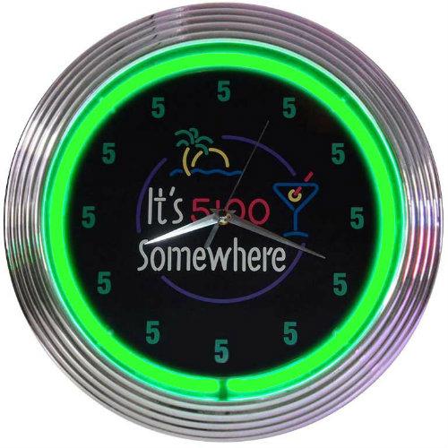 Its 5 O'Clock Somewhere Neon Clock