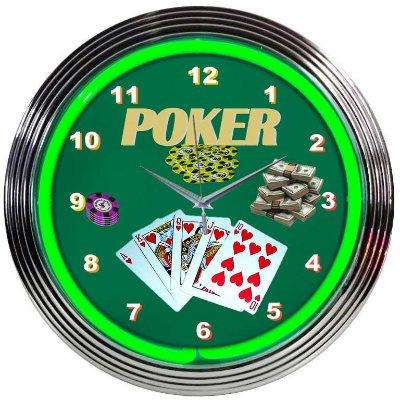Poker Neon Clock