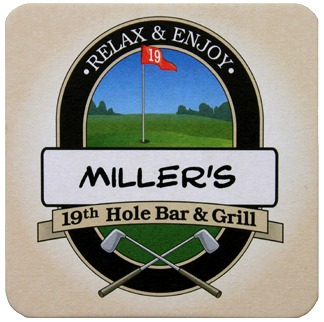 Personalized 19th Hole Bar and Grill Coasters