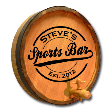Personalized Sports Bar Quarter Barrel Sign