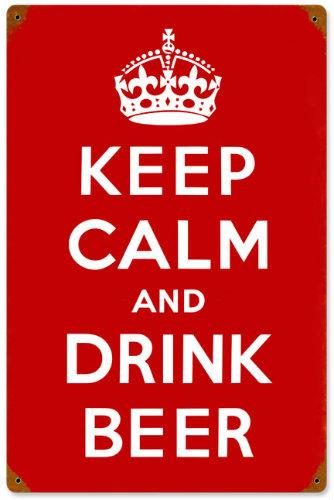 Keep Calm and Drink Beer Vintage Metal Sign