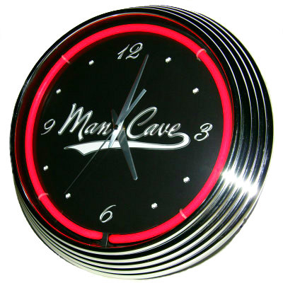Man Cave Neon Clock - Red