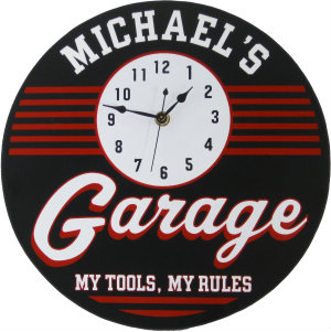 Personalized Garage Clock - Retro