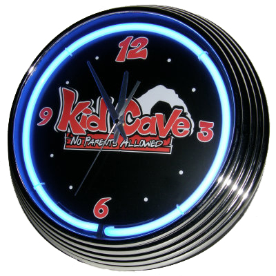 Kid Cave Neon Clock - Blue