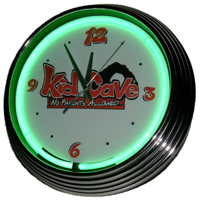 Kid Cave Neon Clock - Green