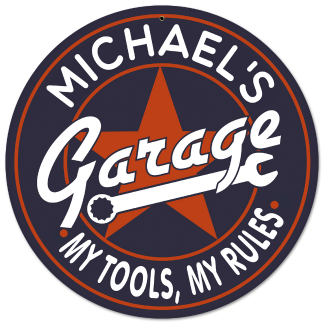 Personalized Garage Metal Sign - My Tools, My Rules