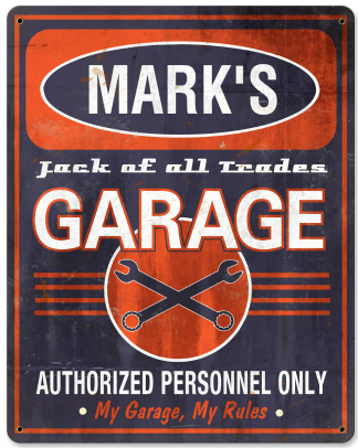 Personalized Garage Vintage Metal Sign - Jack of All Trades