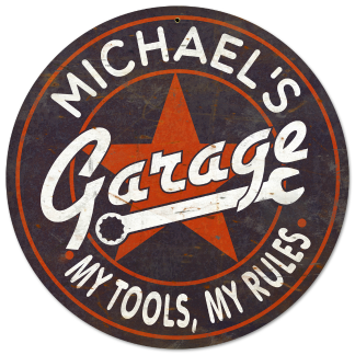 Personalized Garage Vintage Metal Sign - My Tools, My Rules
