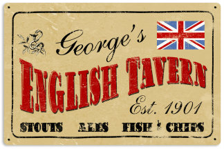 Personalized Old English Tavern Metal Sign