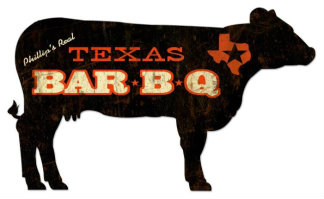 Personalized BBQ Texas Cow Metal Sign
