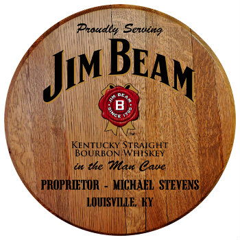 Personalized Jim Beam Barrel Head Sign - Man Cave version with Name and City and State