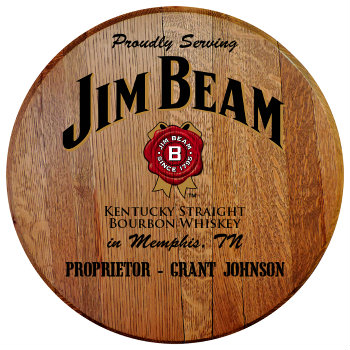 Personalized Jim Beam Barrel Head Sign - City and State version