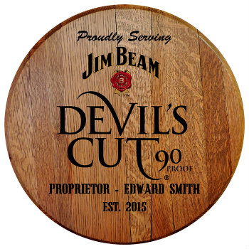 Personalized Devils Cut Barrel Head Sign with Name & Established Date