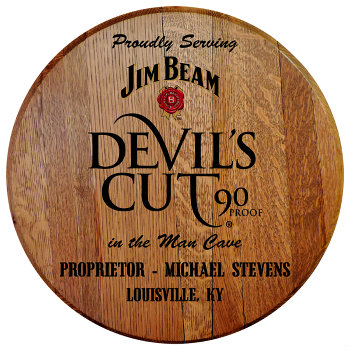 Personalized Devils Cut Barrel Head Sign - Man Cave version with Name and City and State