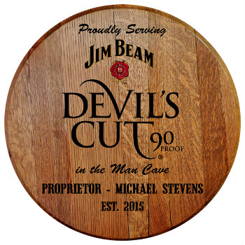 Personalized Devils Cut Barrel Head Sign - Man Cave version with Name & Established Date