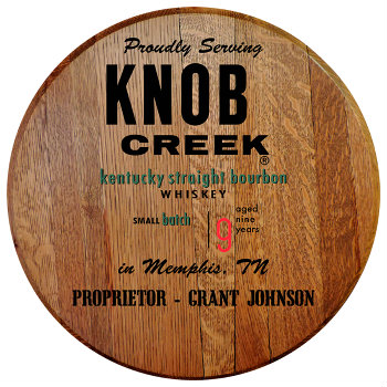 Personalized Knob Creek Barrel Head Sign - City and State version