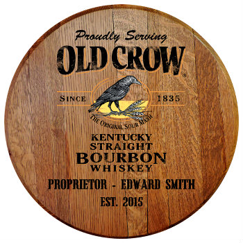 Personalized Old Crow Barrel Head Sign with Name & Established Date