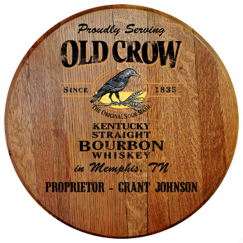 Personalized Old Crow Barrel Head Sign - City and State version
