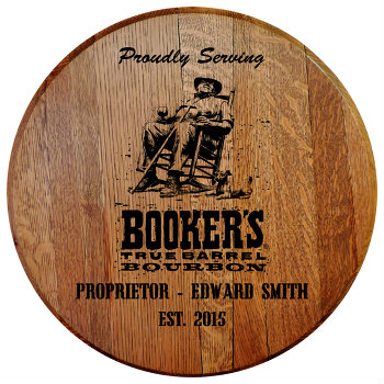Personalized Bookers Barrel Head Sign with Name & Established Date