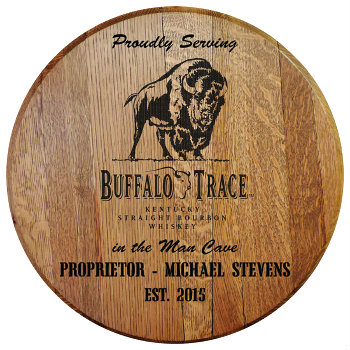 Personalized Buffalo Trace Barrel Head Sign - Man Cave version with Name & Established Date