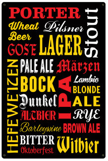 Beer Subway Metal Bar Sign with color