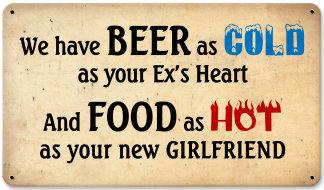 Beer Cold Food Hot Vintage Metal Bar Sign