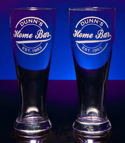 Personalized Home Bar Pilsner Glasses